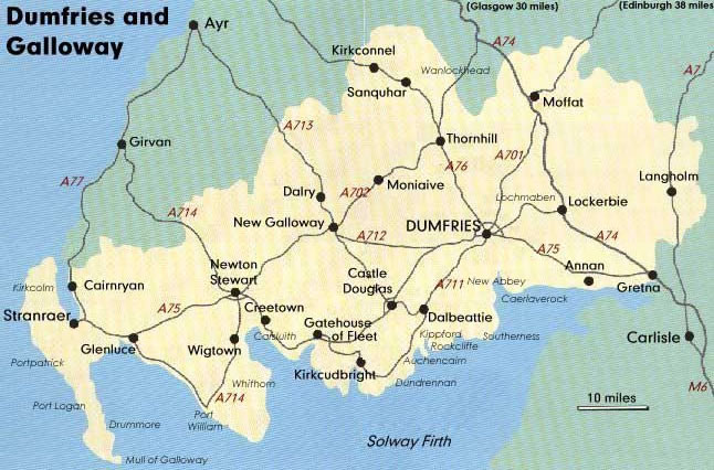 Map Of Dumfries Main Road Route Map   Maps   Dumfries and Galloway Map Of Dumfries